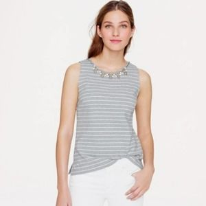 J Crew Large Top Stripe Necklace Gray Jeweled 348
